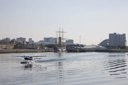 The Seaplane lands at Pacific Quay