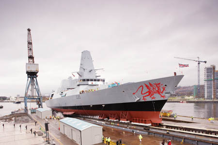 HMS Dragon is launched from Govan