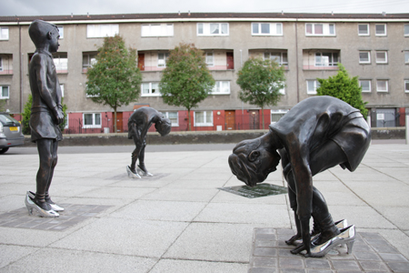 'Gorbals Boys' by Liz Peden on the junction of Cumberland Street and Queen Elizabeth Gardens in the Gorbals