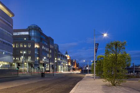 The Broomielaw in Glasgow's IFSD at night