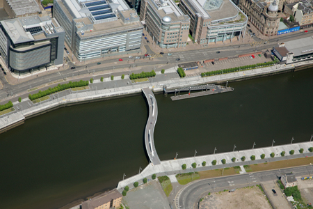 Aerial view of Squiggly Bridge and Broomielaw in Glasgow's IFSD