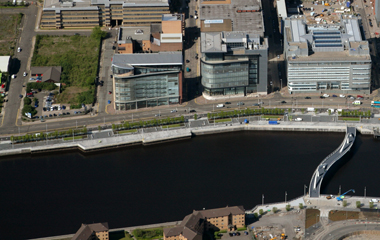 Aerial view of 200 Broomielaw in Glasgow's IFSD