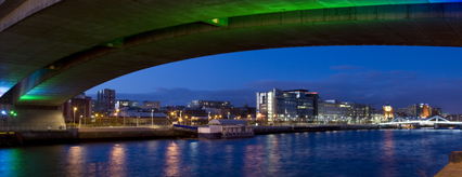 Night time view of 200 Broomielaw from Kingston Bridge