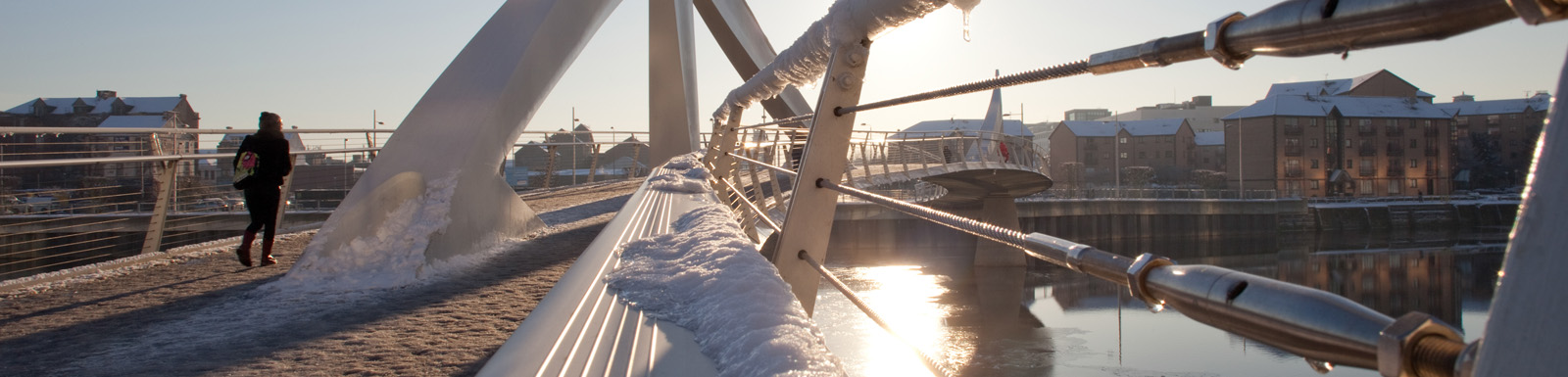 The Squiggly Bridge in the snow